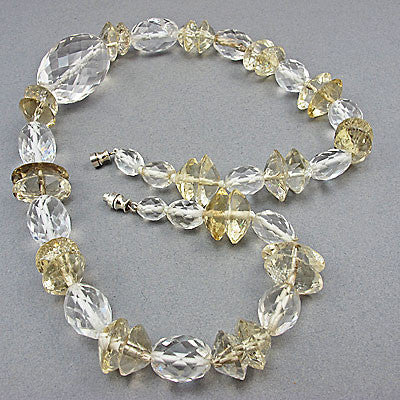 vintage rock crystal beads necklace faceted 2 colours