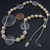 Vintage rock crystal beads necklace and mother of pearl beads