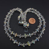 Vintage crystal beads necklace aurora borealis