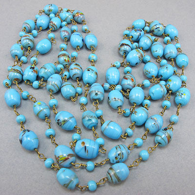 Vintage czech glass beads necklace baby blue