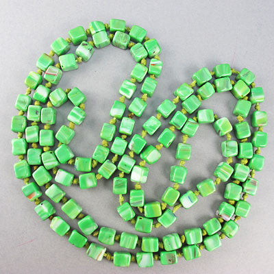 Vintage Czech Glass Beads necklace green cubes