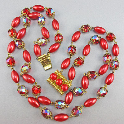Vintage Czech Glass Beads necklace red