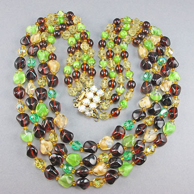 Vintage Czech  Glass Beads Necklace Multi Strand