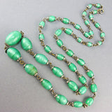 Vintage czech glass beads necklace aqua green