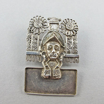 Vintage ethnic jewellery silver pendant mexican