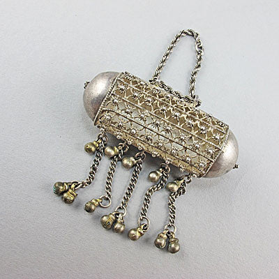 Vintage ethnic jewellery silver pendant middle eastern