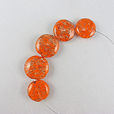 Vintage foil glass beads orange gold