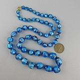 Vintage foil glass beads necklace silver blue