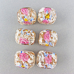 Vintage foil glass beads art deco