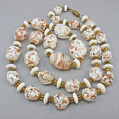 White and gold vintage foil glass beads necklace