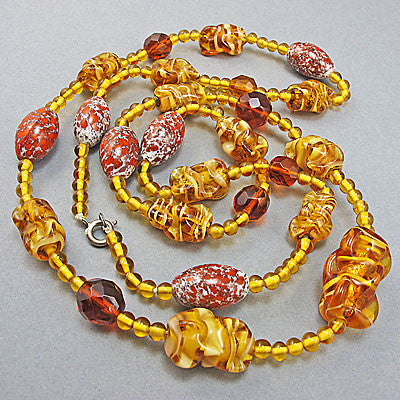 Art deco vintage foil glass beads