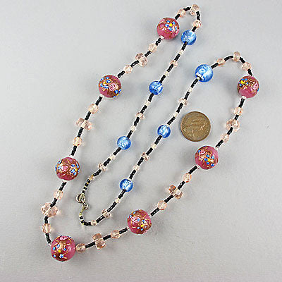 Vintage foil glass beads necklace and lampwork beads