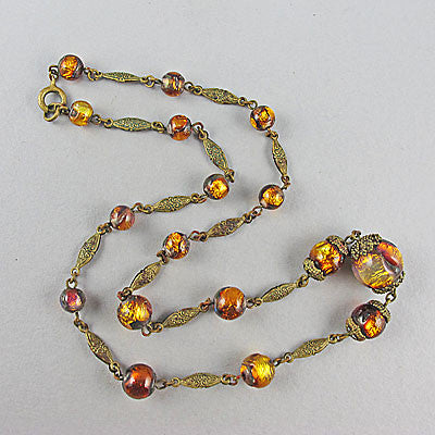 Vintage foil glass beads necklace venetian