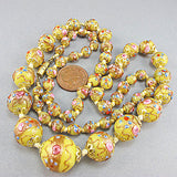 Vintage lampwork beads necklace venetian glass beads yellow gold colour