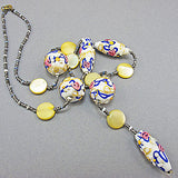 Vintage lampwork bead necklace venetian white