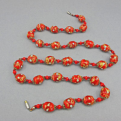 Vintage lampwork beads necklace venetian red