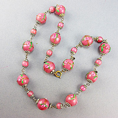 Vintage lampwork beads necklace venetian dusty pink