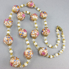 Vintagee lampwork beads necklace venetian glass bbeads cream