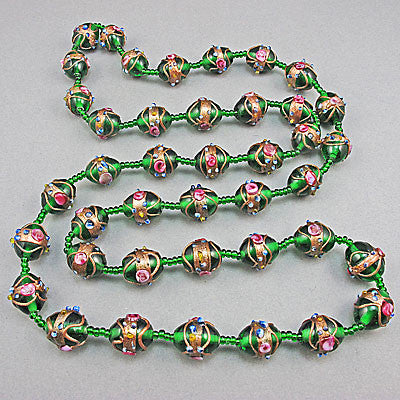 Vintage lampwork beads necklace green colour