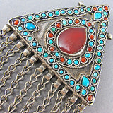 Vintage jewellery coral turquoise and silver pendant
