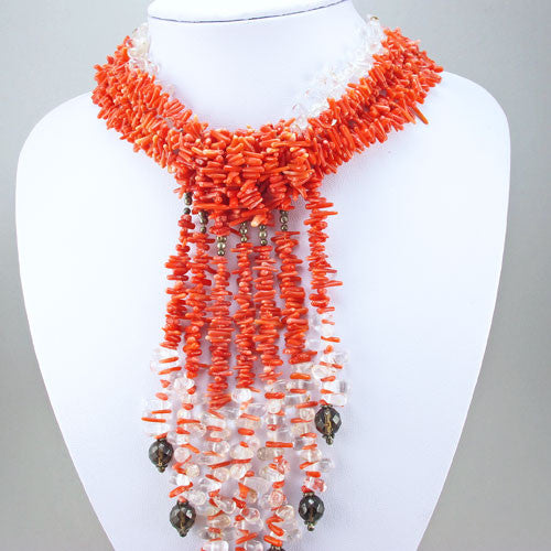 Vintage coral beads necklace with rock cyrstal beads