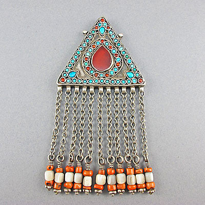 Vintage ethnic jewellery coral turquoise and silver pendant
