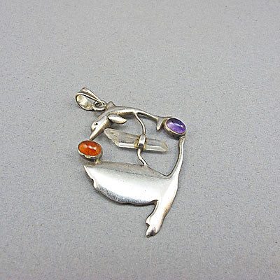 Vintage jewellery Dolphin silver pendant
