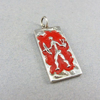 Vintage jewellery enamel and silver pendant
