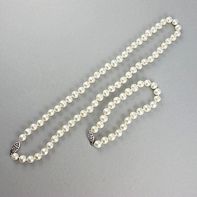 Vintage cultured pearl beads necklace and bracelet