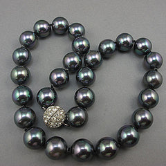 vintage black south sea oyster shell beads necklace