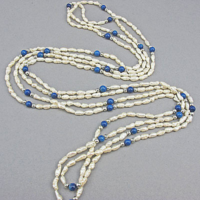 Vintage pearl beads necklaces fresh water and lapis
