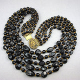 Vintage plastic beads necklace black and gold