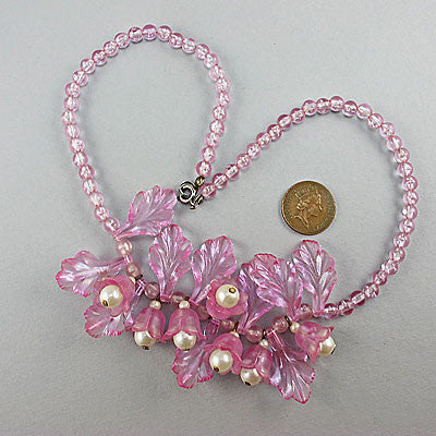 Vintage plastic beads necklace pearly pink