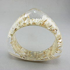 Vintage lucite bangle snow flakes