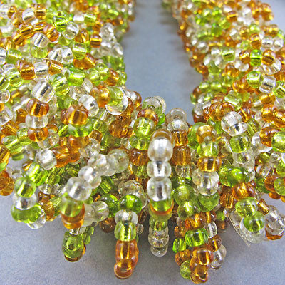 Vintage seed beads necklace greeny gold