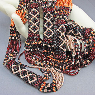 vintage seed beads necklace browns