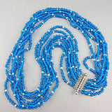Vintage seed beads necklace with fabulous sliver plate clasp