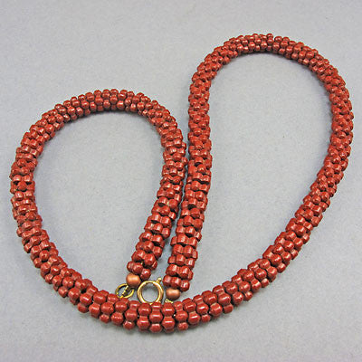 Vintage Seed Beads Necklace Rusty Brown