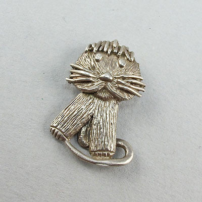 Vintage silver jewellery pendant cute cat
