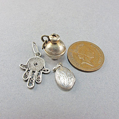 3 vintage silver jewellery charms