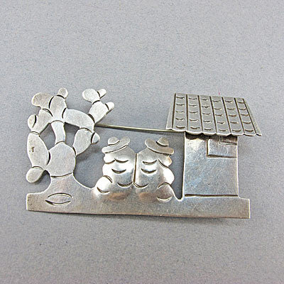 Vintage silver jewellery brooch mexican