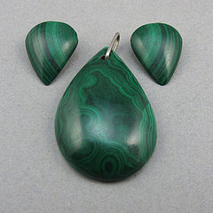 Vintage malachite beads pendant and earings earings set
