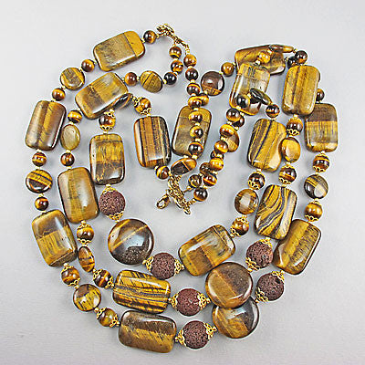 Vintage semi precious stone beads tiger eyes necklace