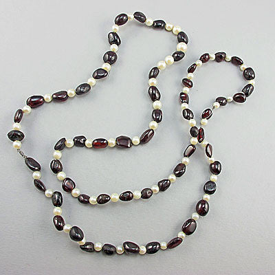 vintage semi precious stone beads garnets and  pearls