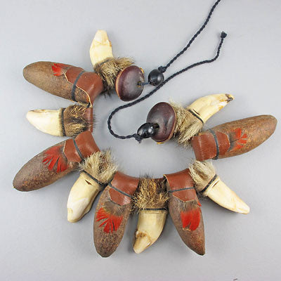 vintage unusual beads necklace teeth and seed
