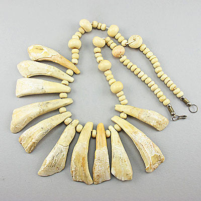 vintage unusual beads necklace bone and teeth