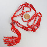 Vintage glass  beads necklace ruby red