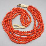 Vintage glass beads necklace ethnic red