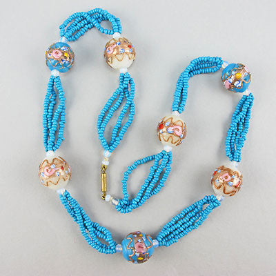Vintage glass beads necklace and lampwork beads