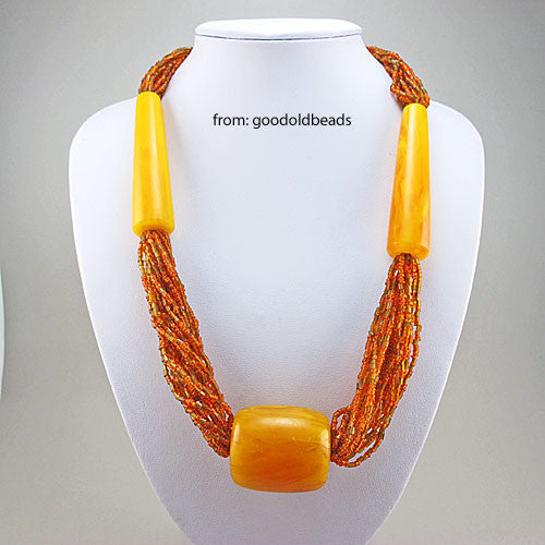 vintage beads necklace faux amber beads